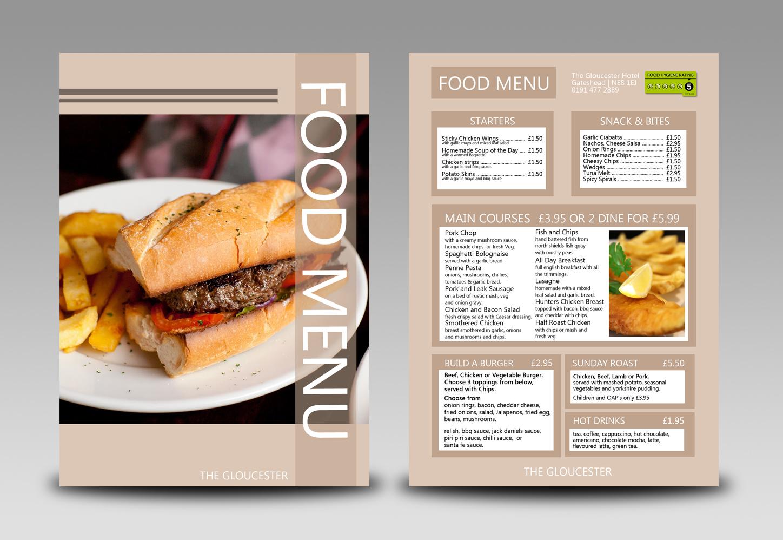 Gloucester menu mockup